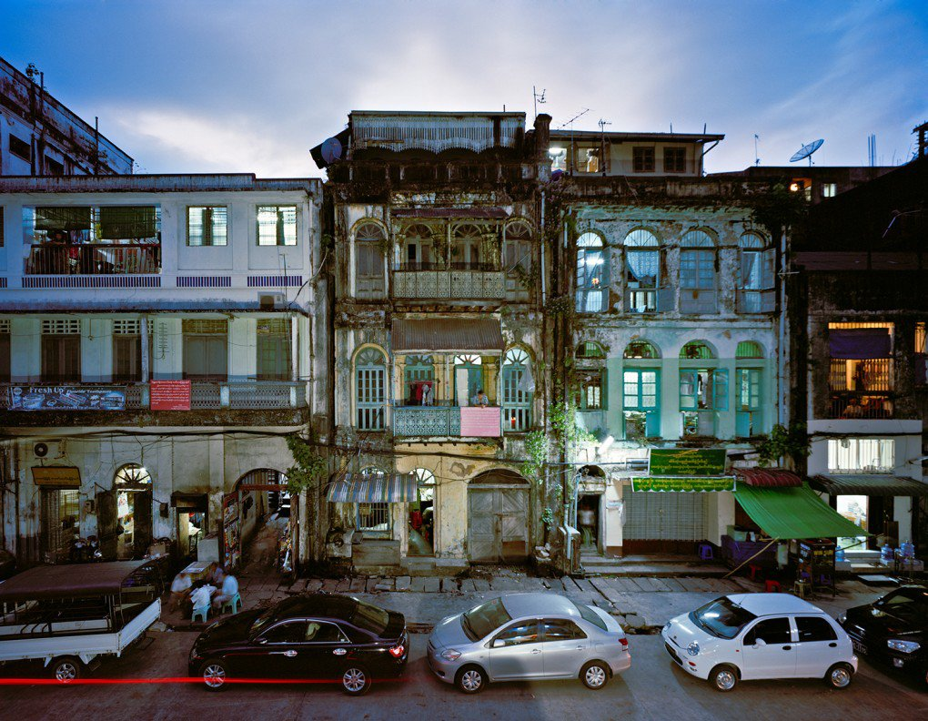 Side Street Off Mahabandoola In Downtown Yangon.