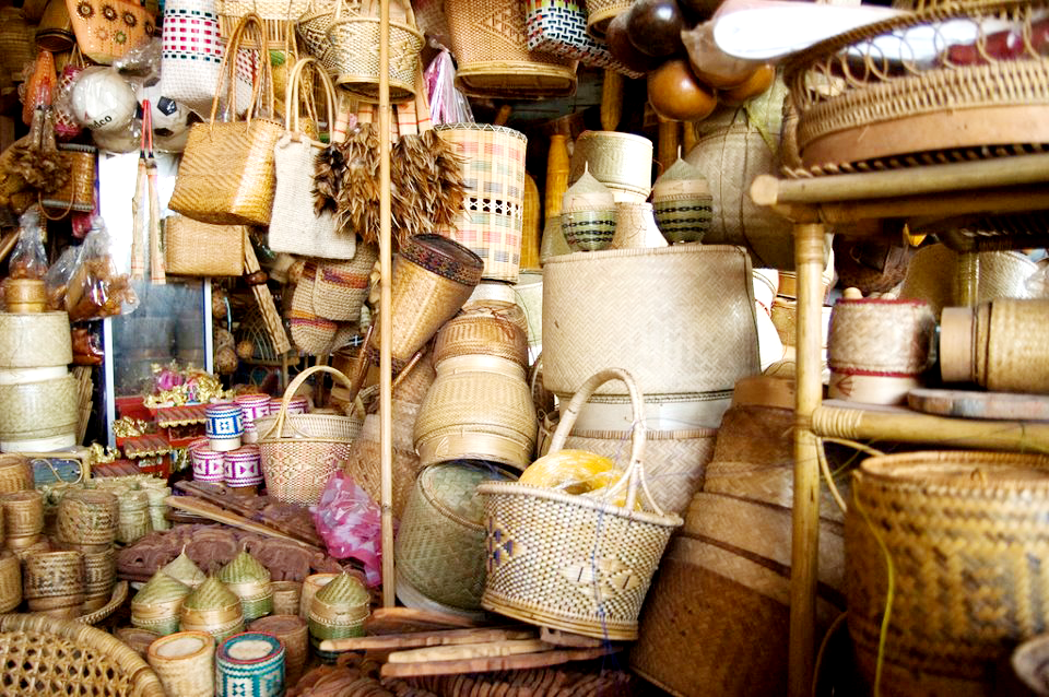 Various sizes of baskets for sale.