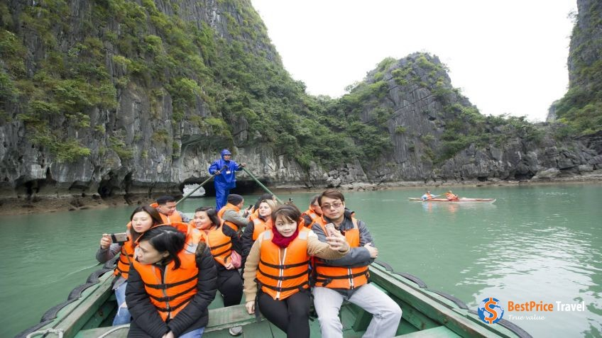 Bamboo boat rowing