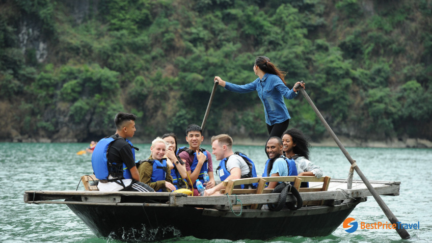 Rowing Bamboo Boat