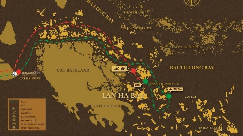 Lan Ha Bay Cruise Itinerary Maps