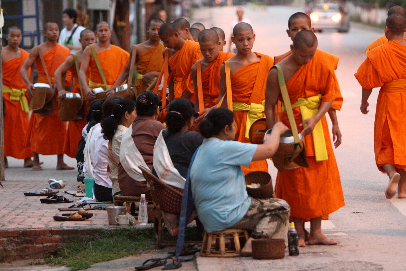 Monks Collecting Alms At Dawn, Luang Prabang