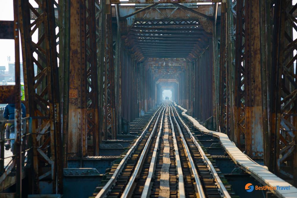 Railway through Long Bien Bridge