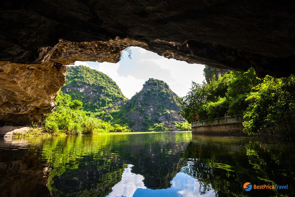 Passing through Cave in Tam Coc