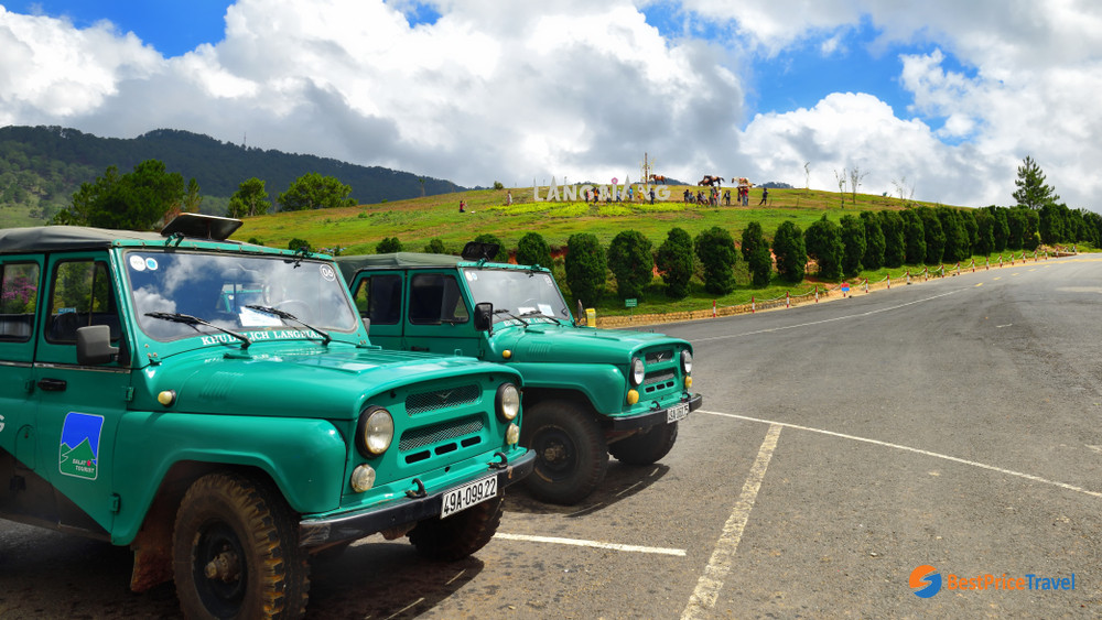 Jeeps take tourist to the top of Lang Biang Mountain