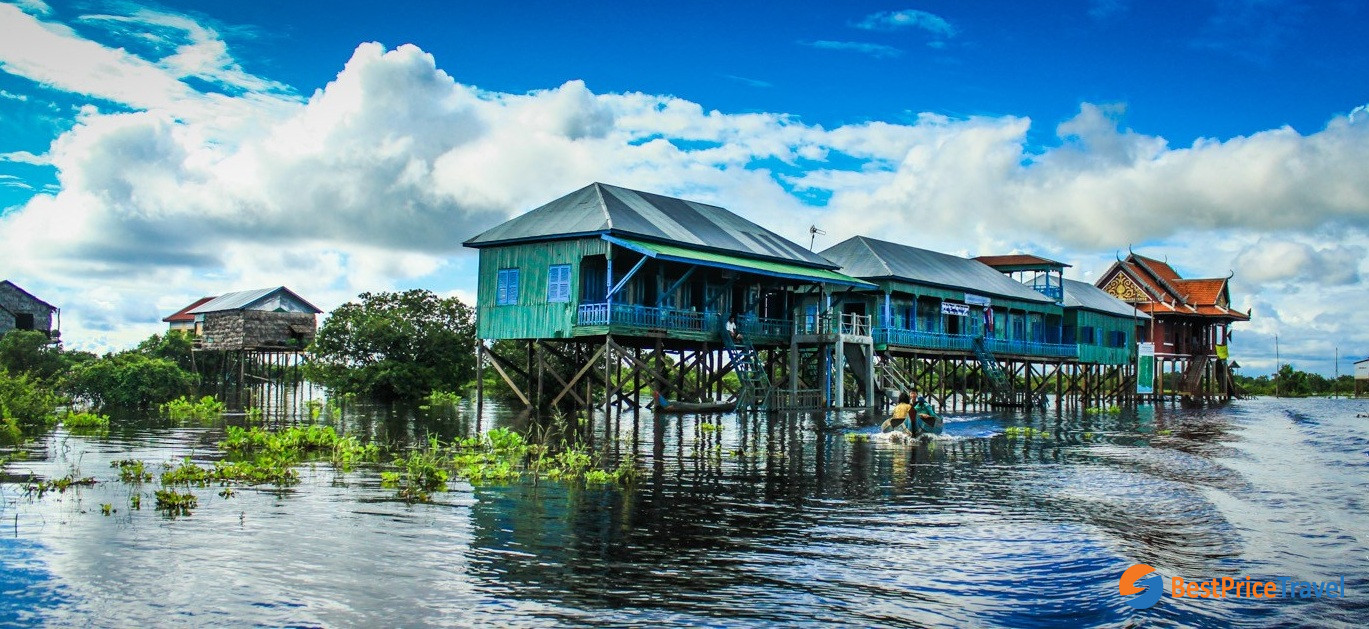 The stilted houses on Kampong Phluk village