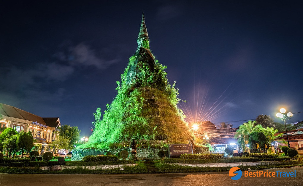 The Black Stupa at night