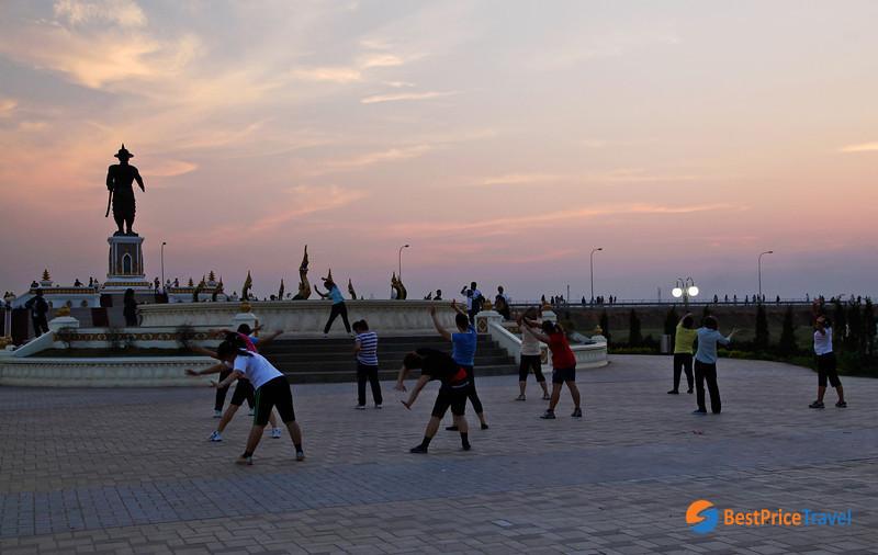 Fitness class of aerobics in Mekong Riverside Park