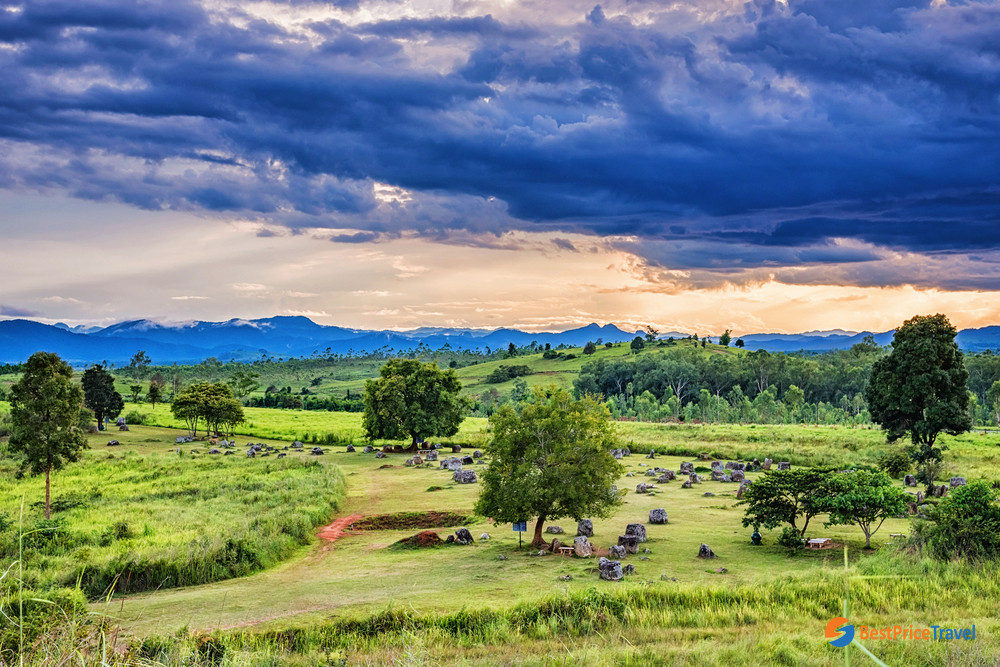 The panoramic view at the Plain of Jars
