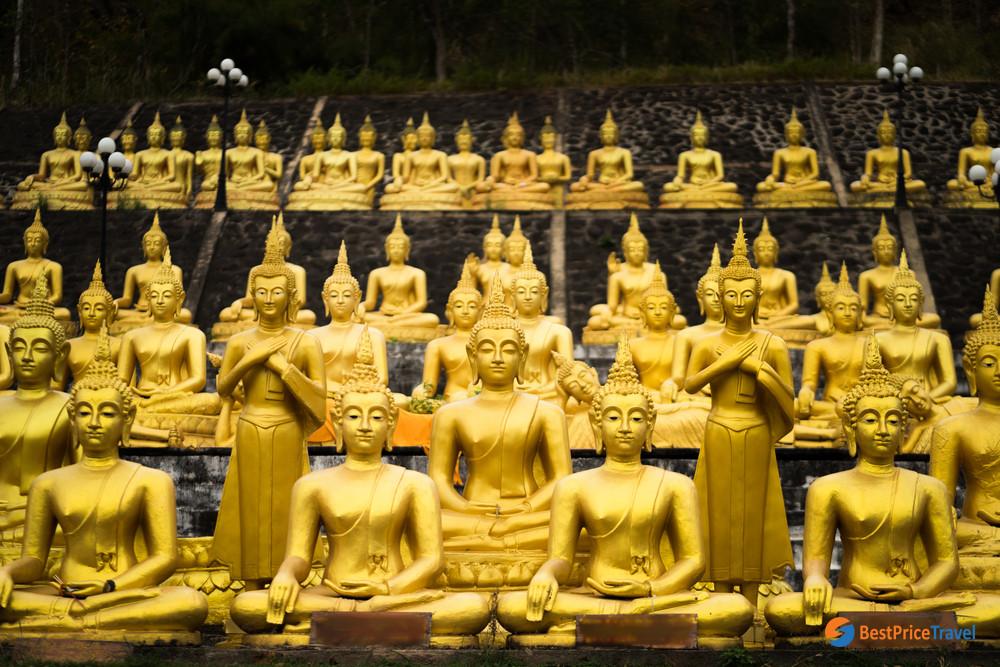 The smaller stupas around the Golden Buddha