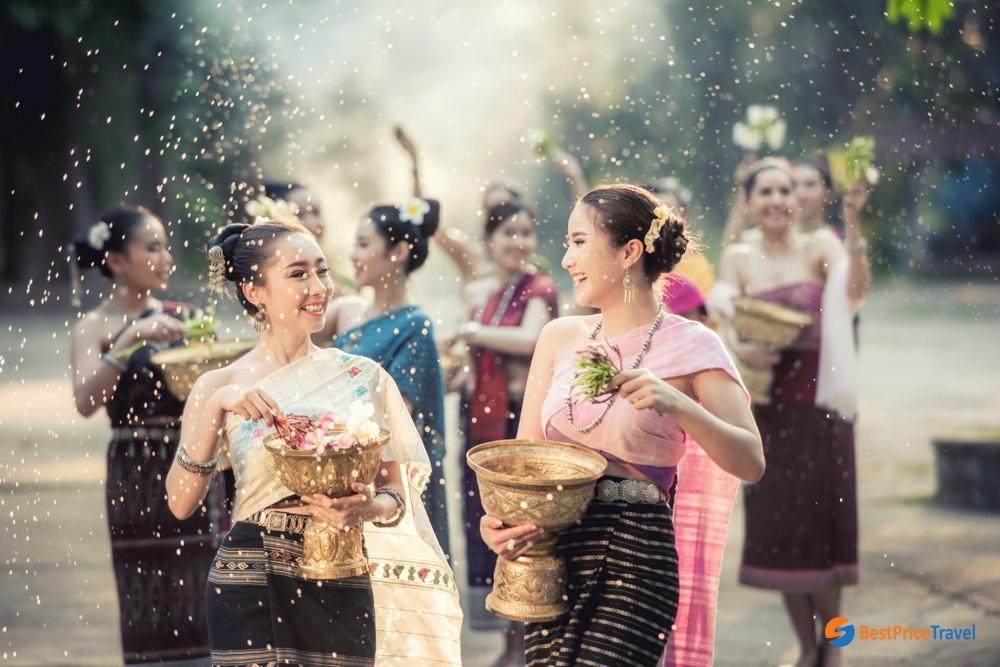 Traditional Water Songkran Festival at Vientiane