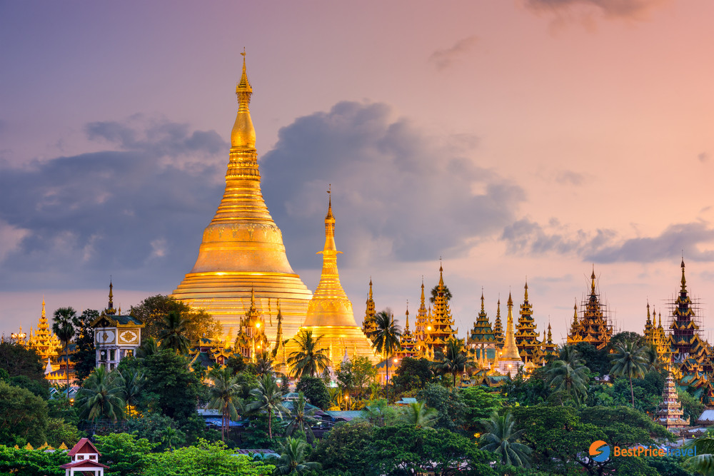 The Shwedagon Pagoda at dusk