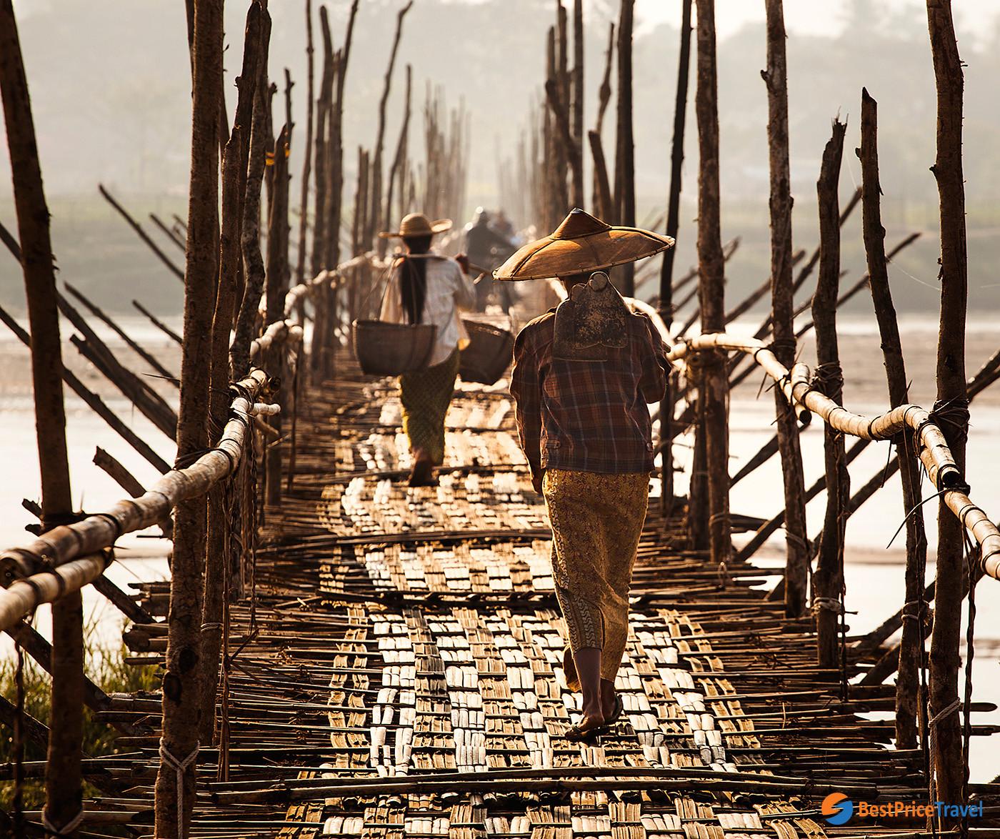 The Bamboo Bridge in Bhamo