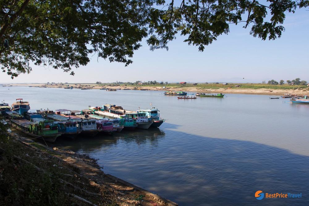 Boats docked at Bhamo jetty
