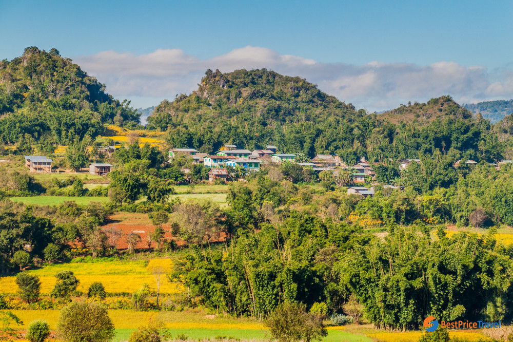 Rural landscape in the area between Kalaw and Inle