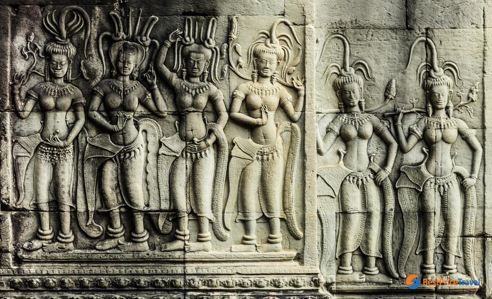Bas Relief of Apsara Dancers