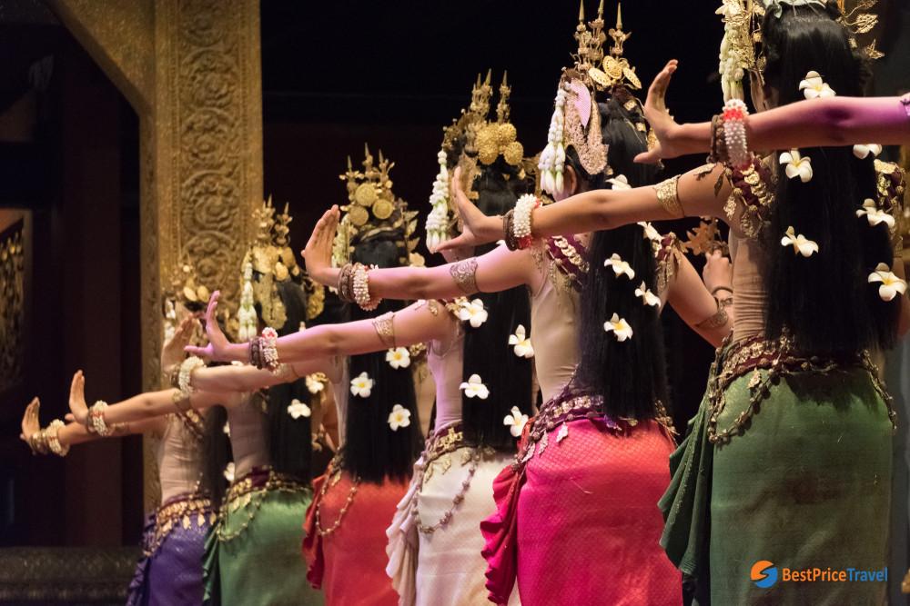 Unique slow and gentle movement of Apsara Dance