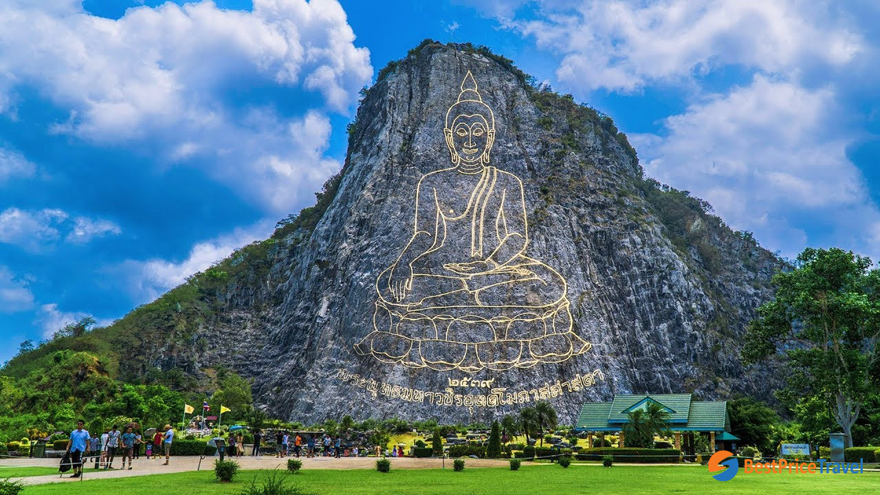 Khao Chi Chan with the Buddha image carved on mountain