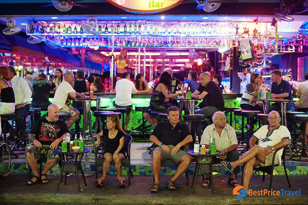 In front of a bar at Pattaya walking street