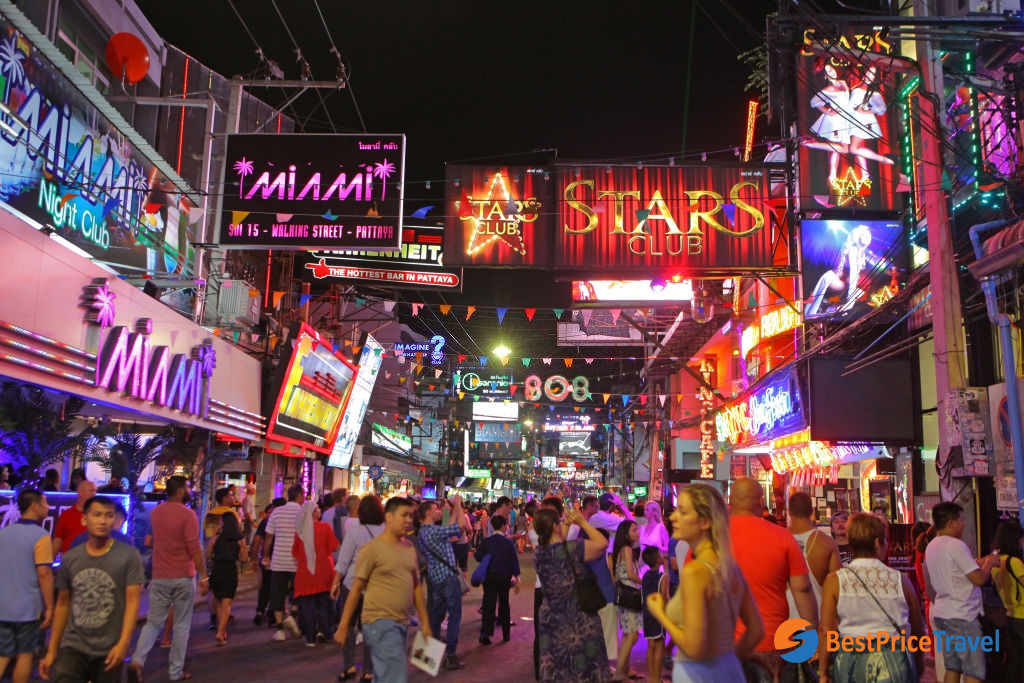 Pattaya walking street at vibrant night