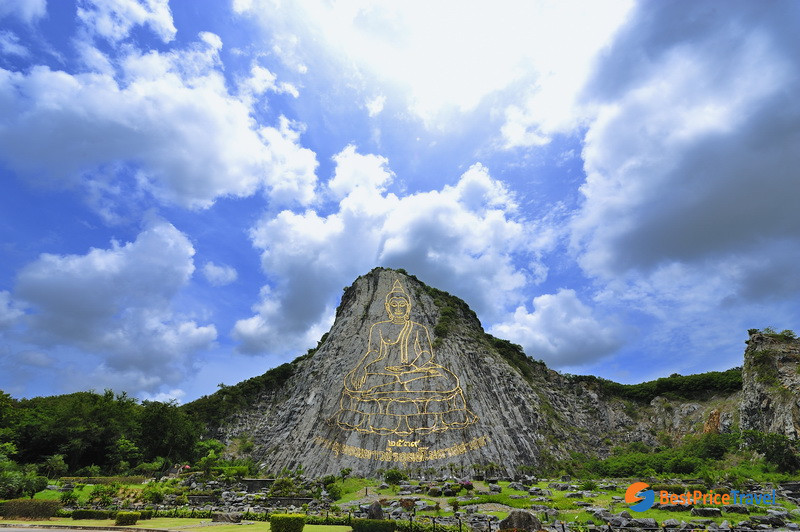 Buddha image carved on mountain Khao Chi Chan