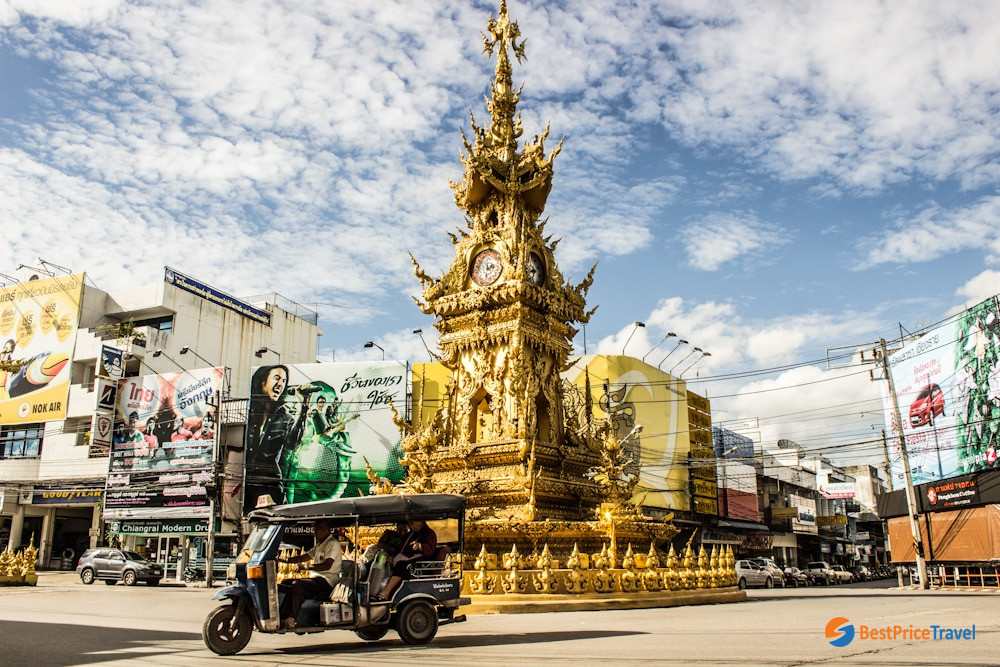 Clock tower on Chiang Rai street