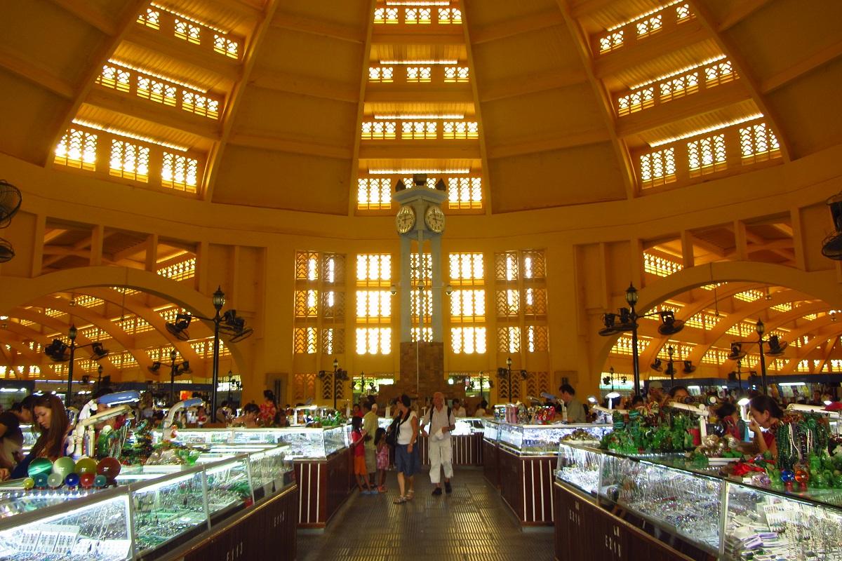 Inside The Central Market In Phnom Penh.