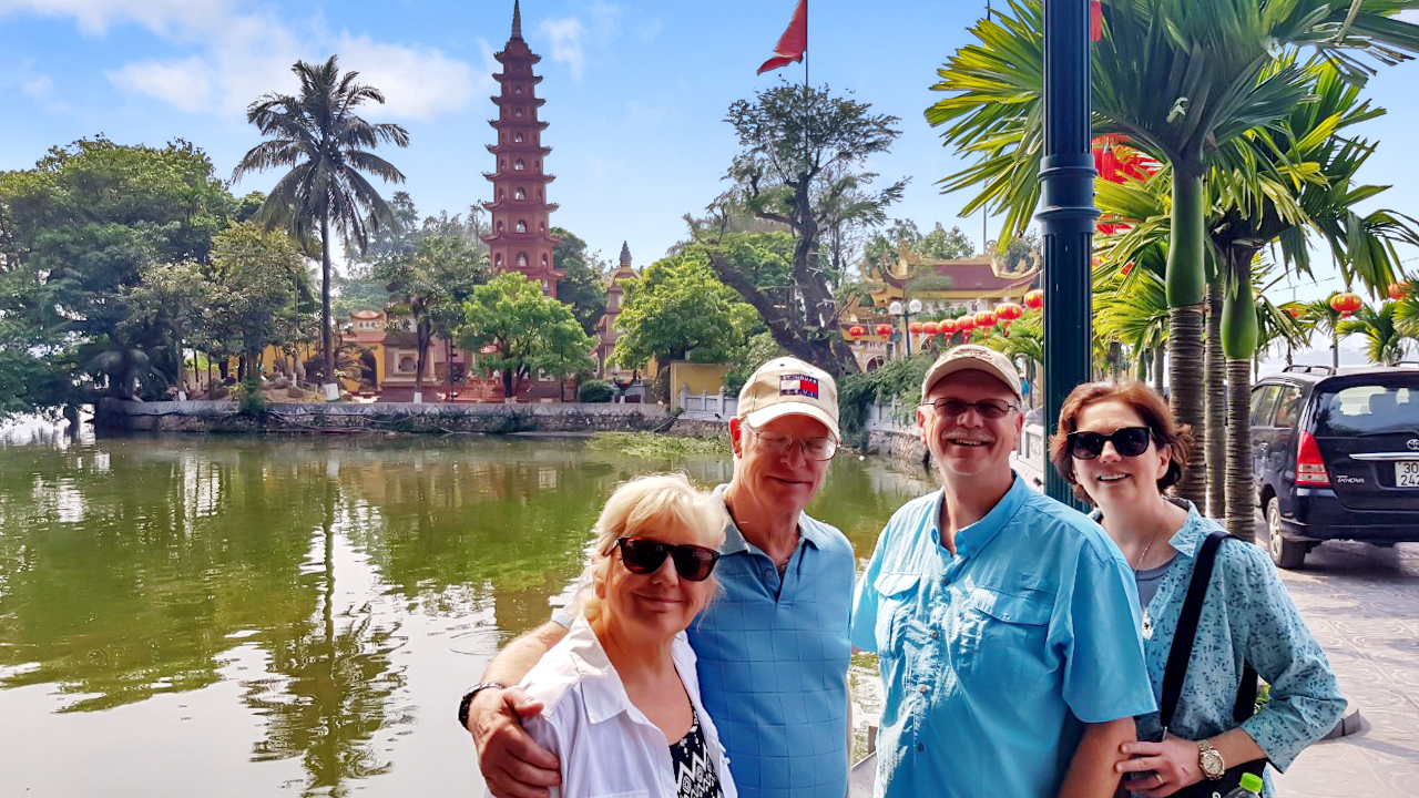 Our happy client in Tran Quoc Pagoda Hanoi
