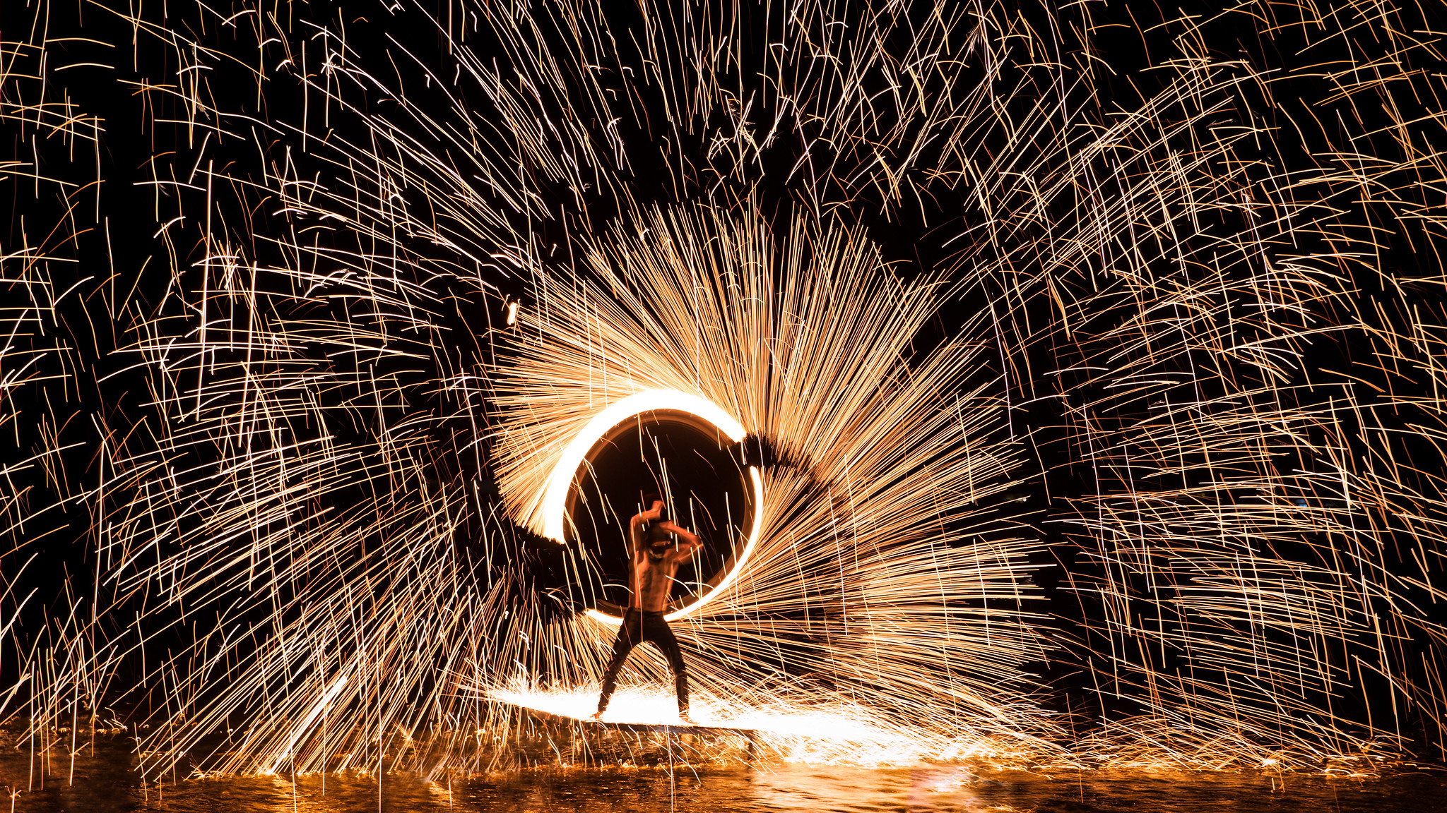 Fire dancing at night in Koh Samui