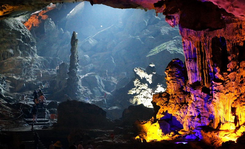 stalactite inside the cave looks like a god TIEN ONG CAVE