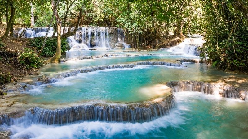 Three levels of Kuang Si Falls