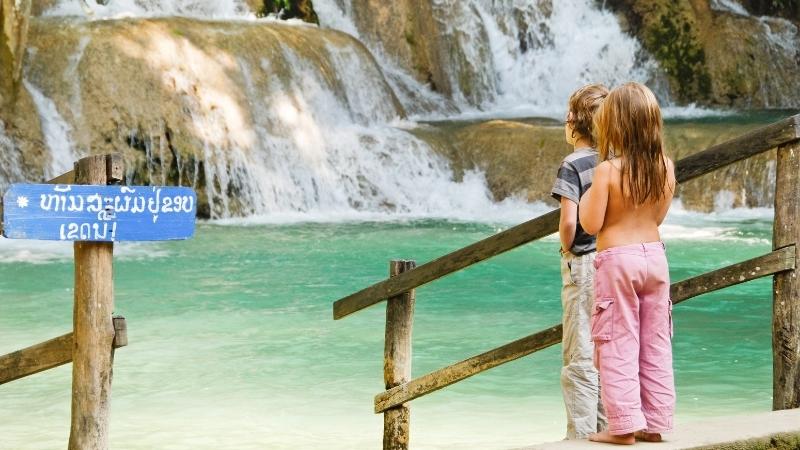 Child at Tad Sae Waterfalls