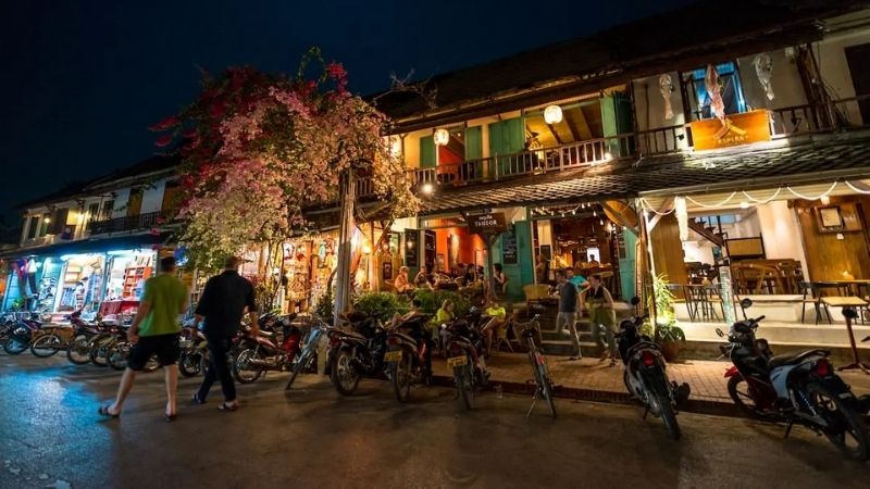 Night streets of theOld Town in Luang Prabang