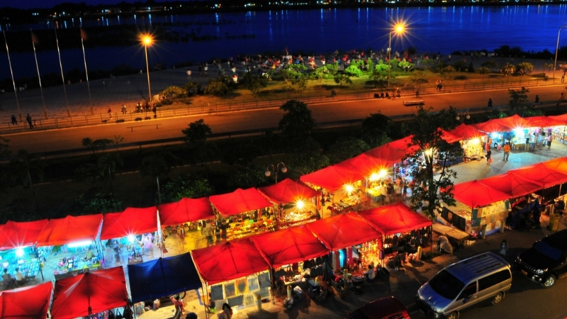 Vientiane Night Market must be the most vibrant nightlife inthe city