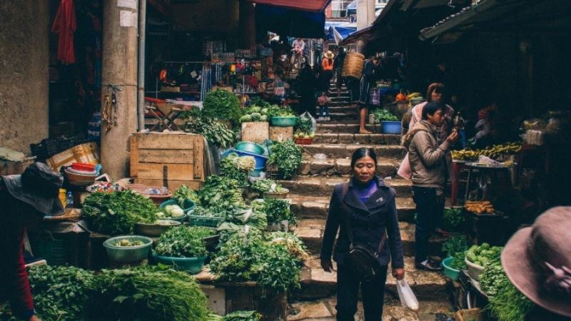 Fresh food stall in Sapa market