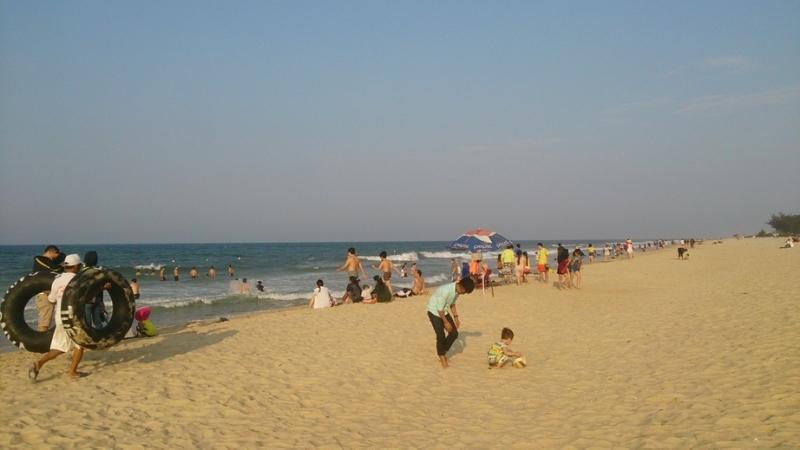 Swimming in Thuan An beach