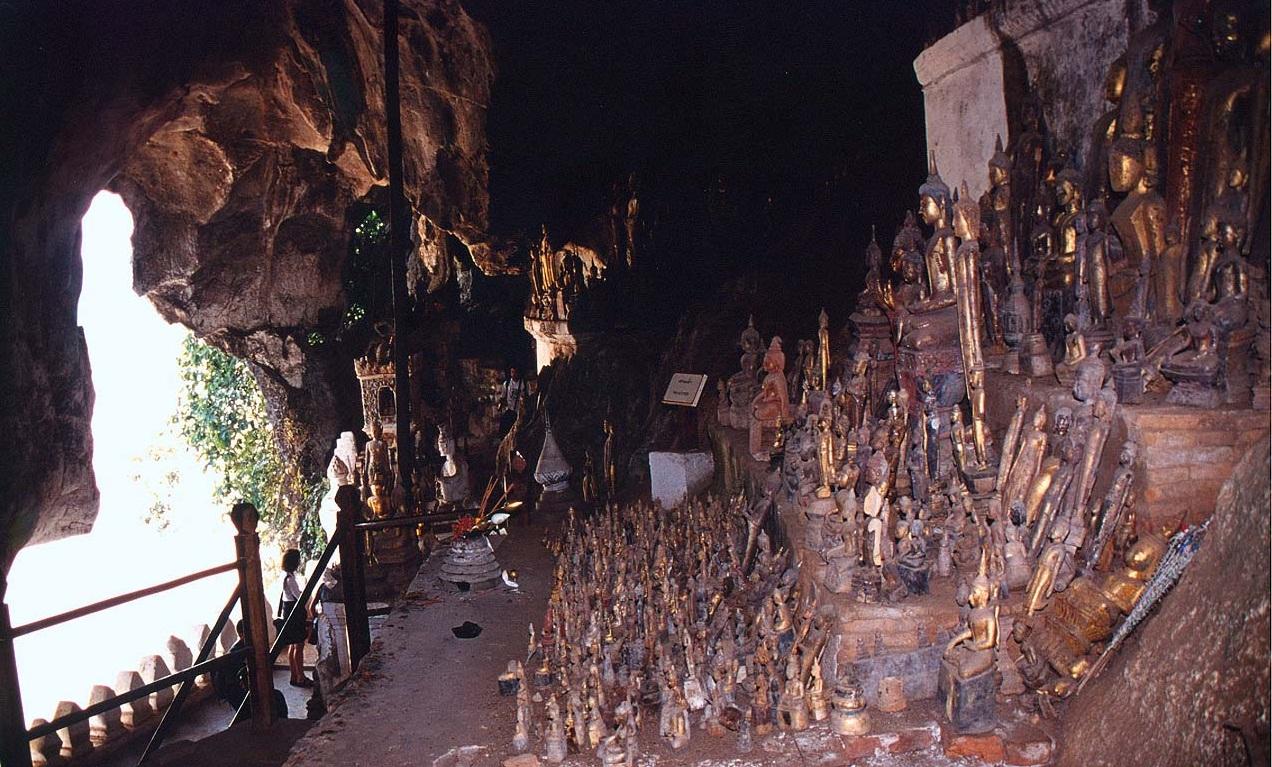 Thousand antique Buddha statues at Pak Ou Caves