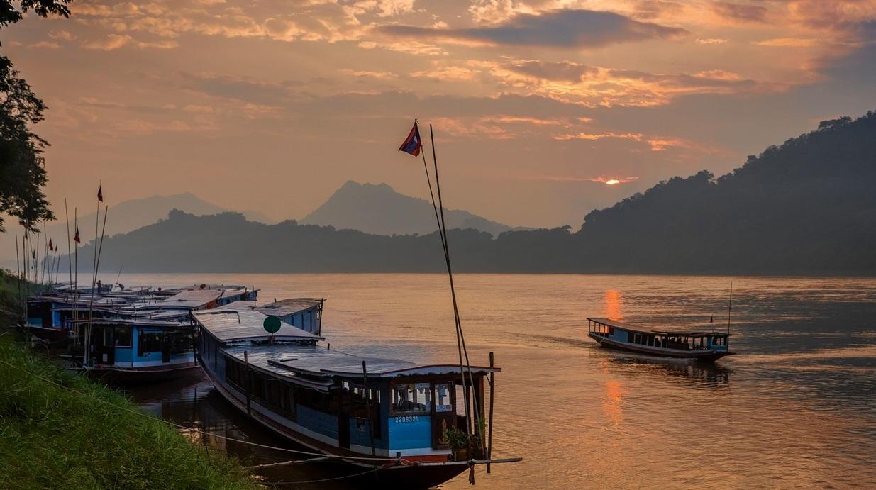 Romantic Sunset on Mekong River