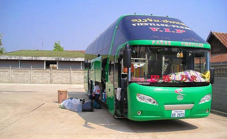 Overnight bus in Laos