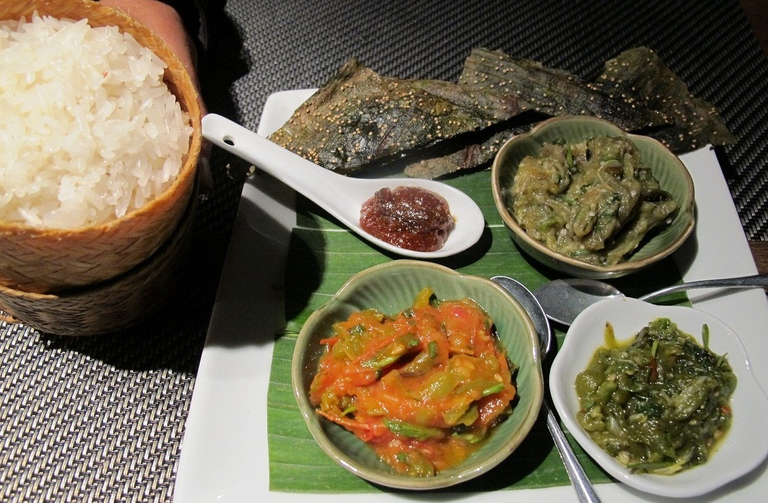 Typical meal in Laos.
