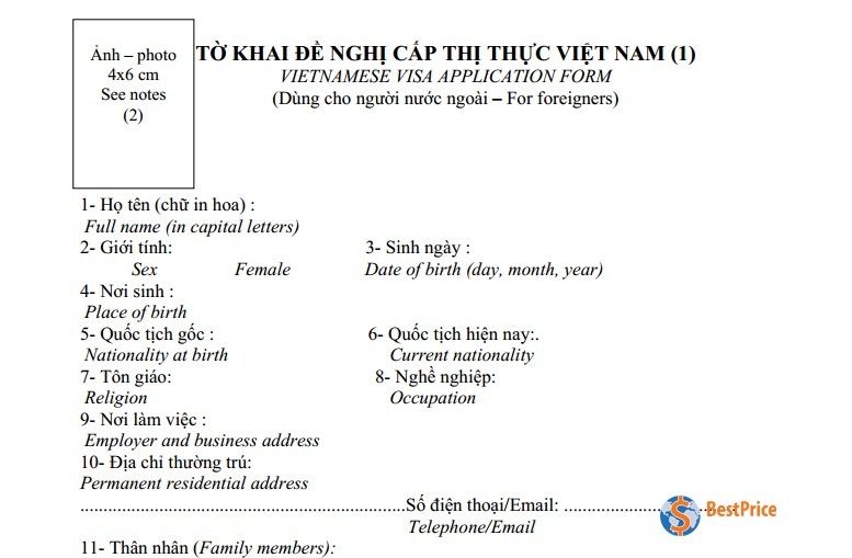 How To Fill In The Vietnamese Visa Application Form Bestprice Travel