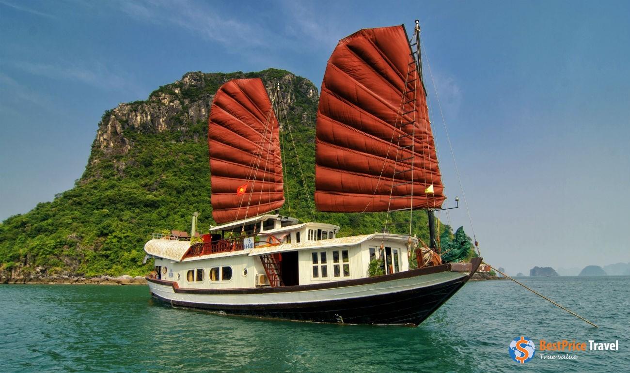 Traditional wooden junks - Vietnam Boat Trip