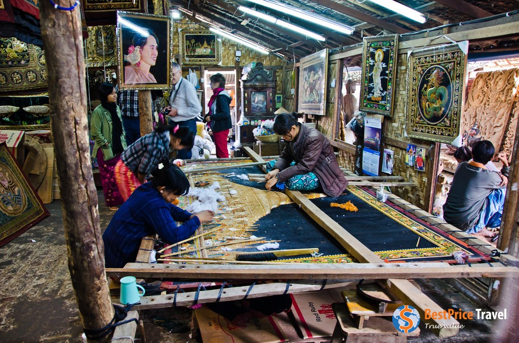 Each pattern on a tapestry in Myanmar is made meticulously