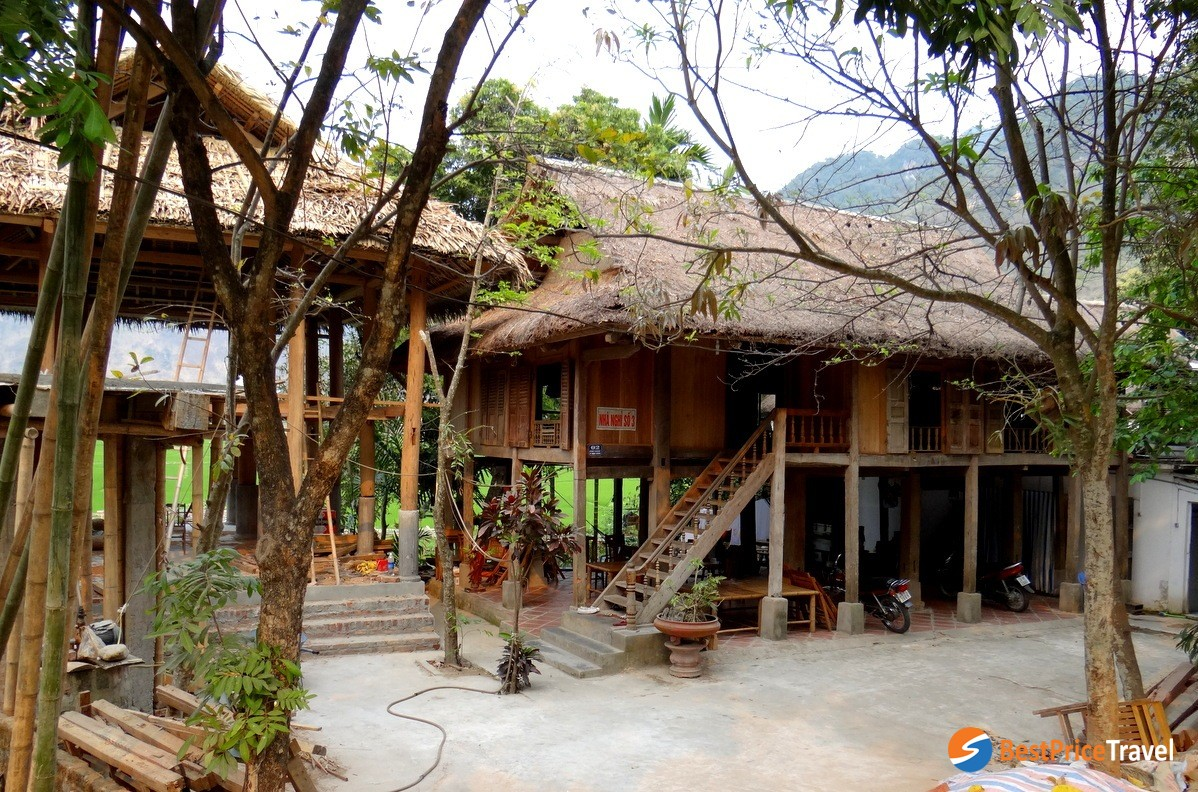 Traditional house-on-stilts of Thai people in Pom Coong village