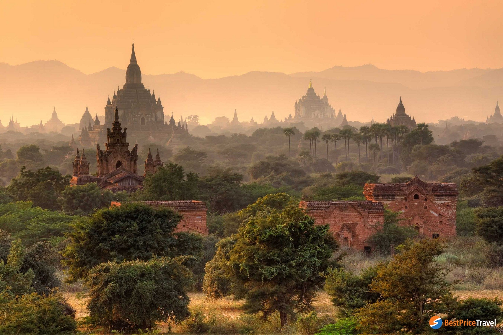 the ground of the Plain of Bagan - a mysterious ancient city in Myanmar