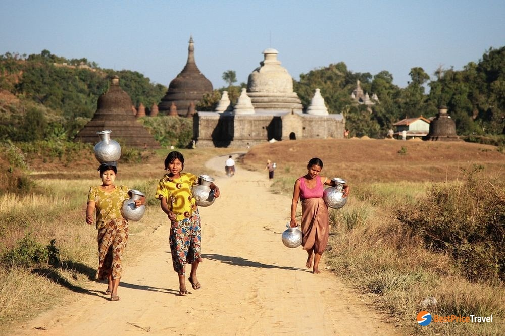 Village life in Mrauk U happens all around the ancient temples