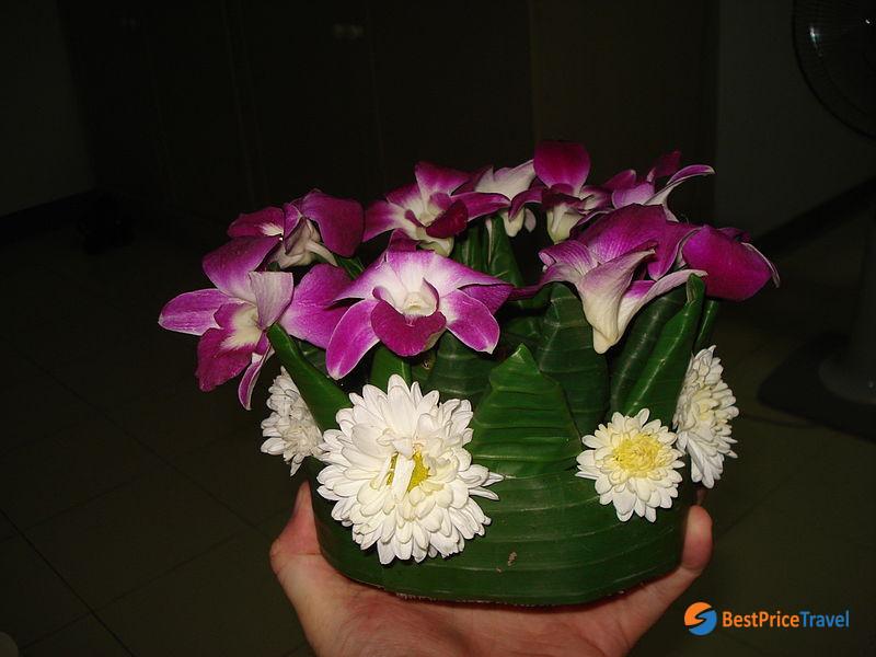 A hand made Loi Krathong for loi krathong festival in thailand