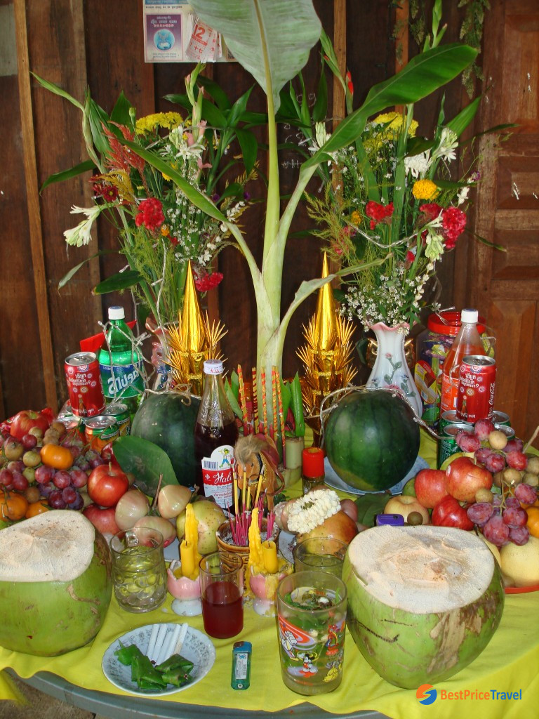 Cambodian offerings for ancestors in Khmer New Year