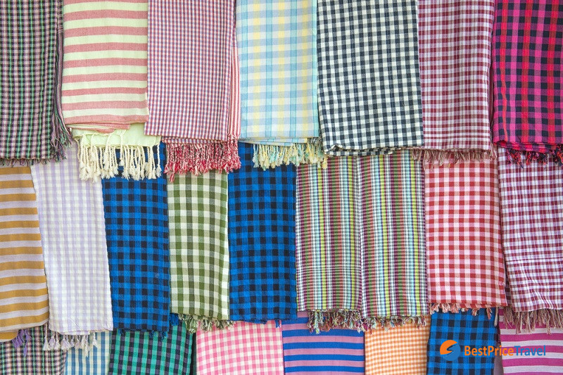 Colorful traditional Cambodian Krama Scarf