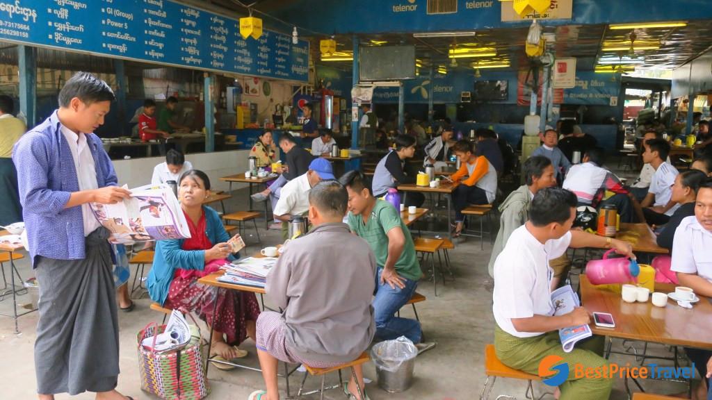 Busy local tea shop in Myanmar